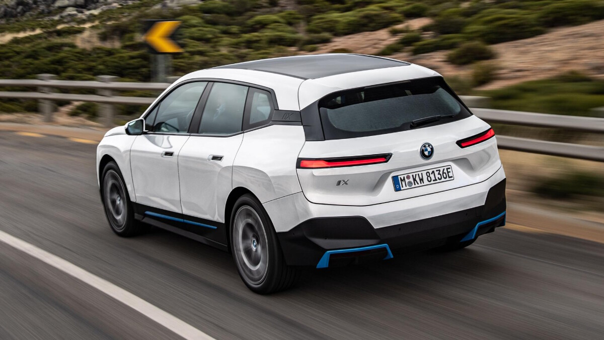 The BMW iX  On the Road Rear View