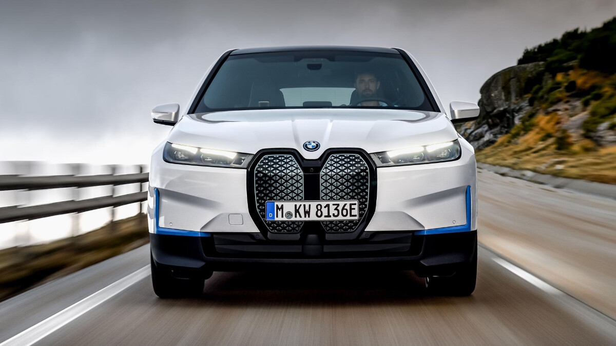 The BMW iX Front View on the Road