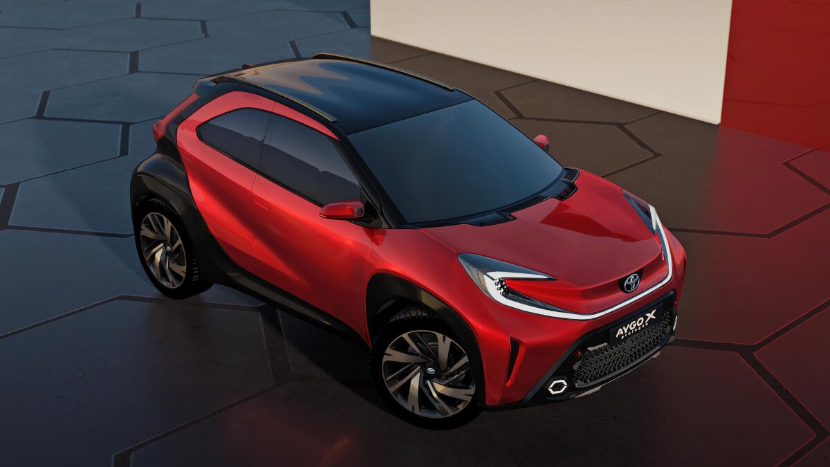 The Toyota Aygo X Angled Top View