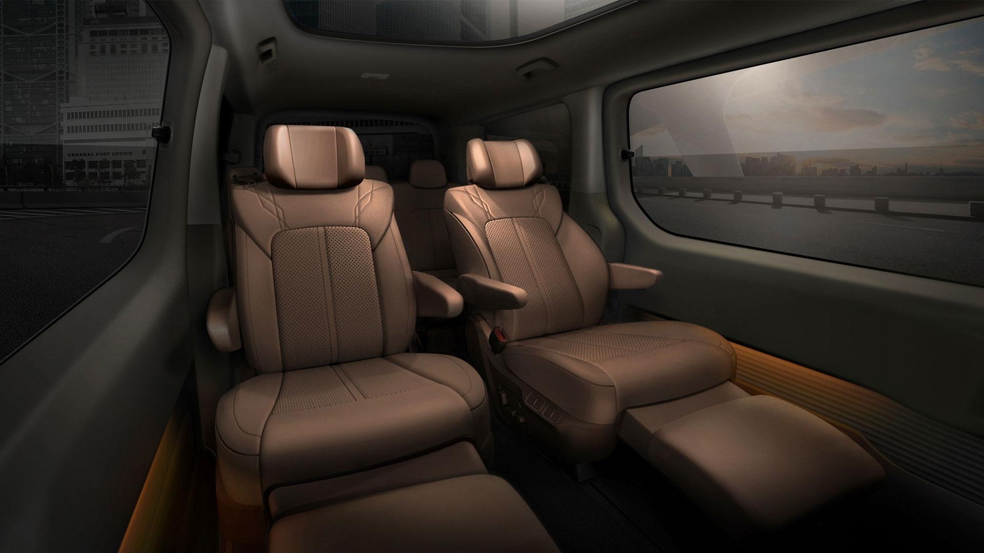 The Hyundai Staria rear passenger seats