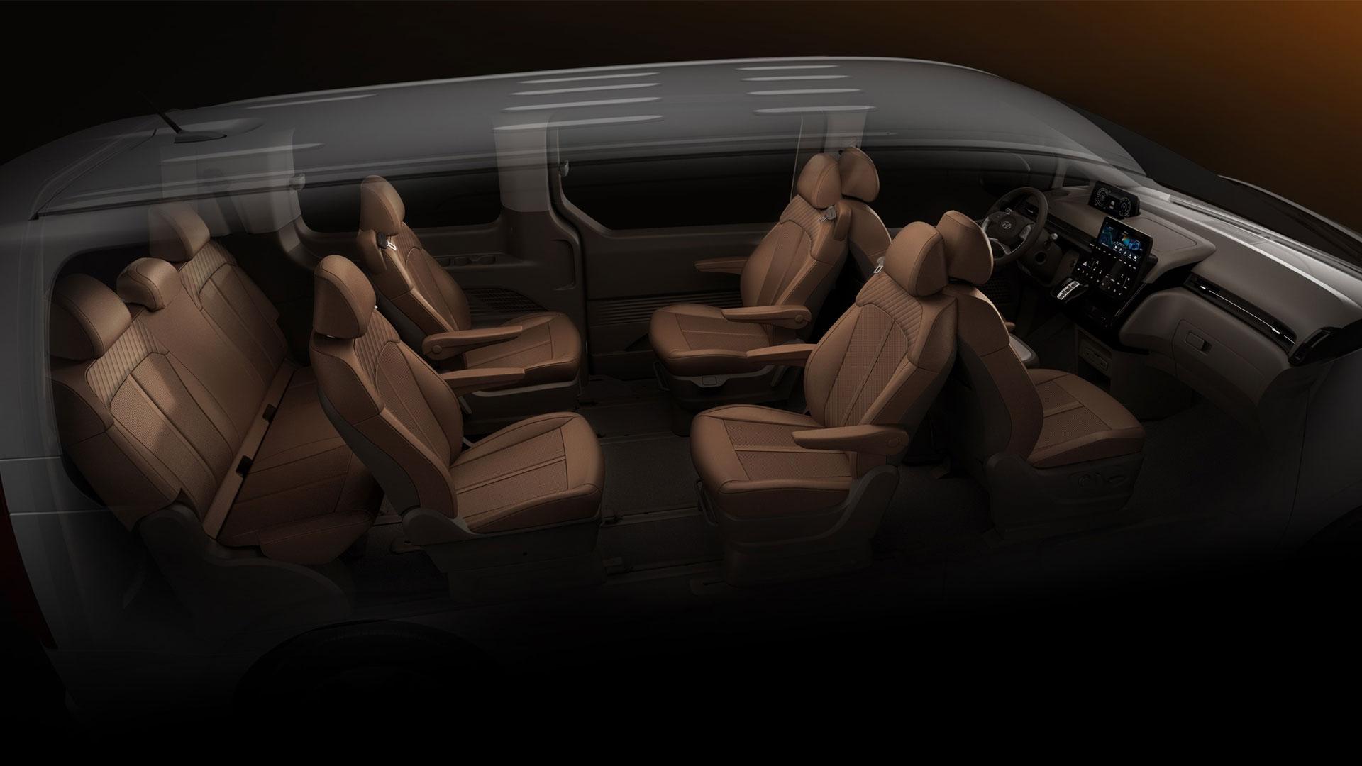 The Hyundai Staria alternative passenger seat setting