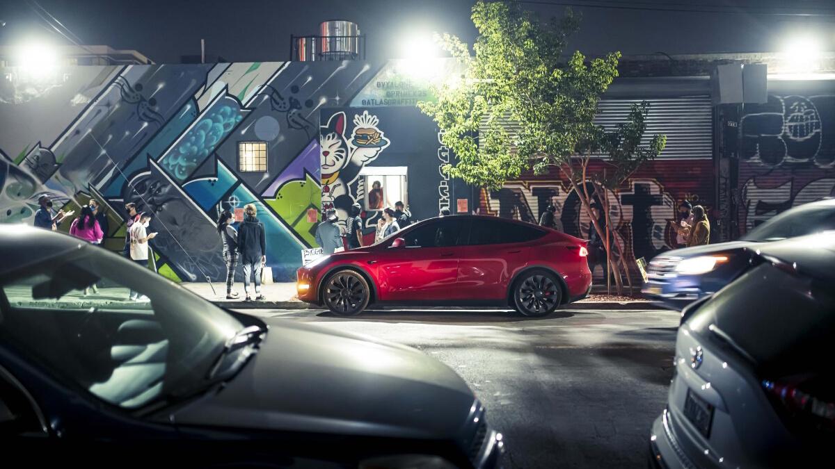 The Tesla Model Y Parked