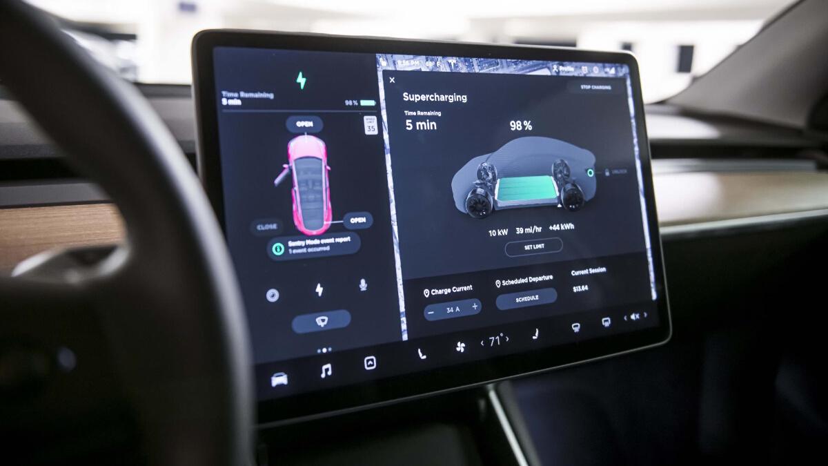 The Tesla Model Y on-board Screen & Control Panel