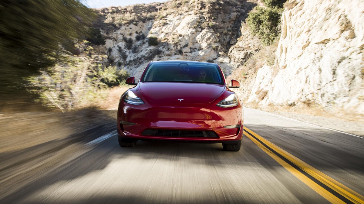 The Tesla Model Y Front View on the Road
