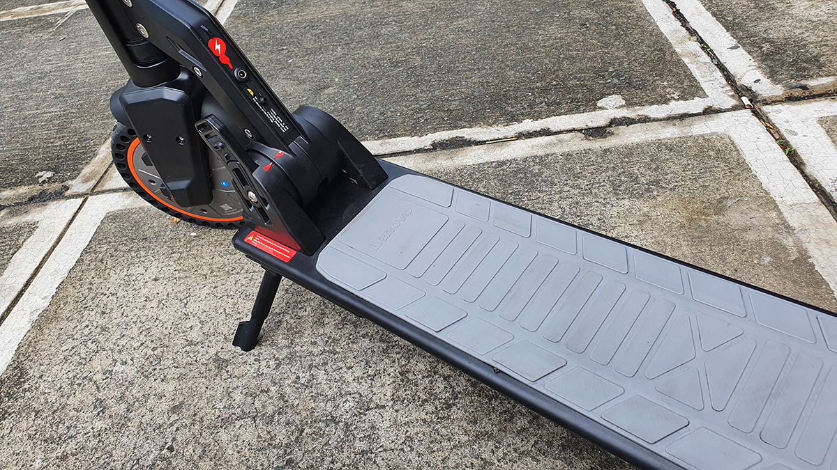 The Lenovo M2 Electric Kick Scooter parked