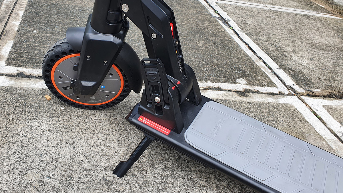 The Lenovo M2 Electric Kick Scooter parked uusing the kick stand