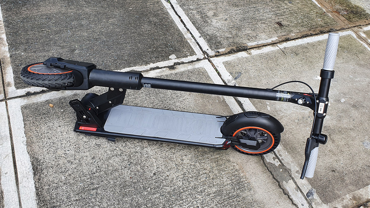 The Lenovo M2 Electric Kick Scooter folded for storage or hand carrying