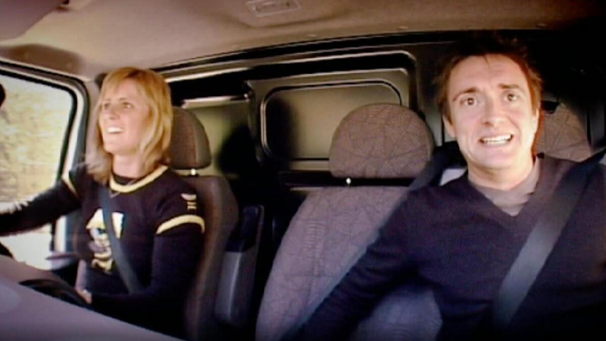 Sabine Schmitz driving with Top Gear' UKs Richard Hammond