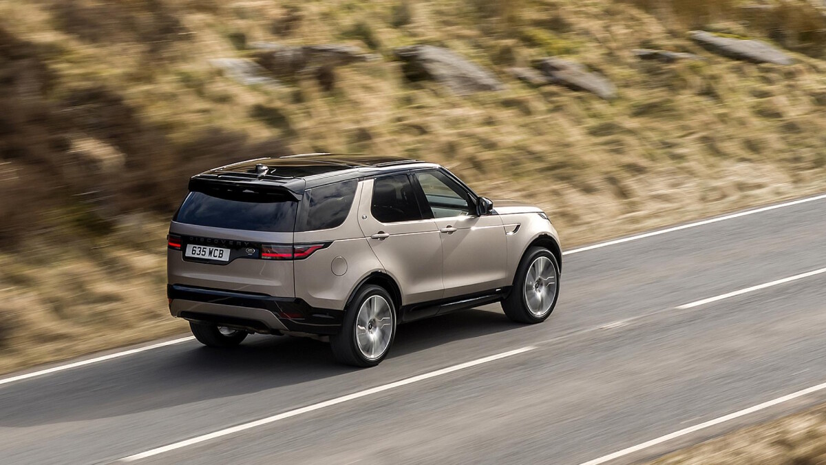 The Land Rover Discovery on the Road, Angled Top View