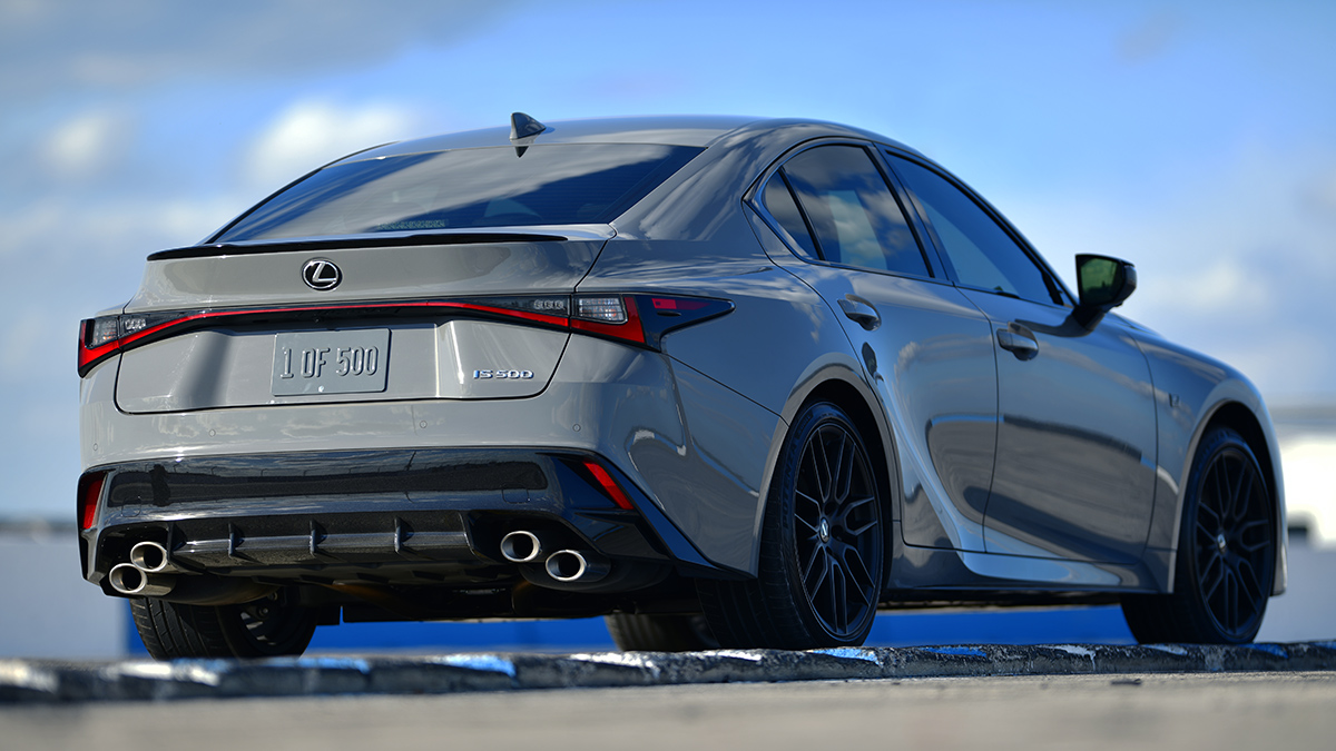 The Lexus IS500F Angled Rear View
