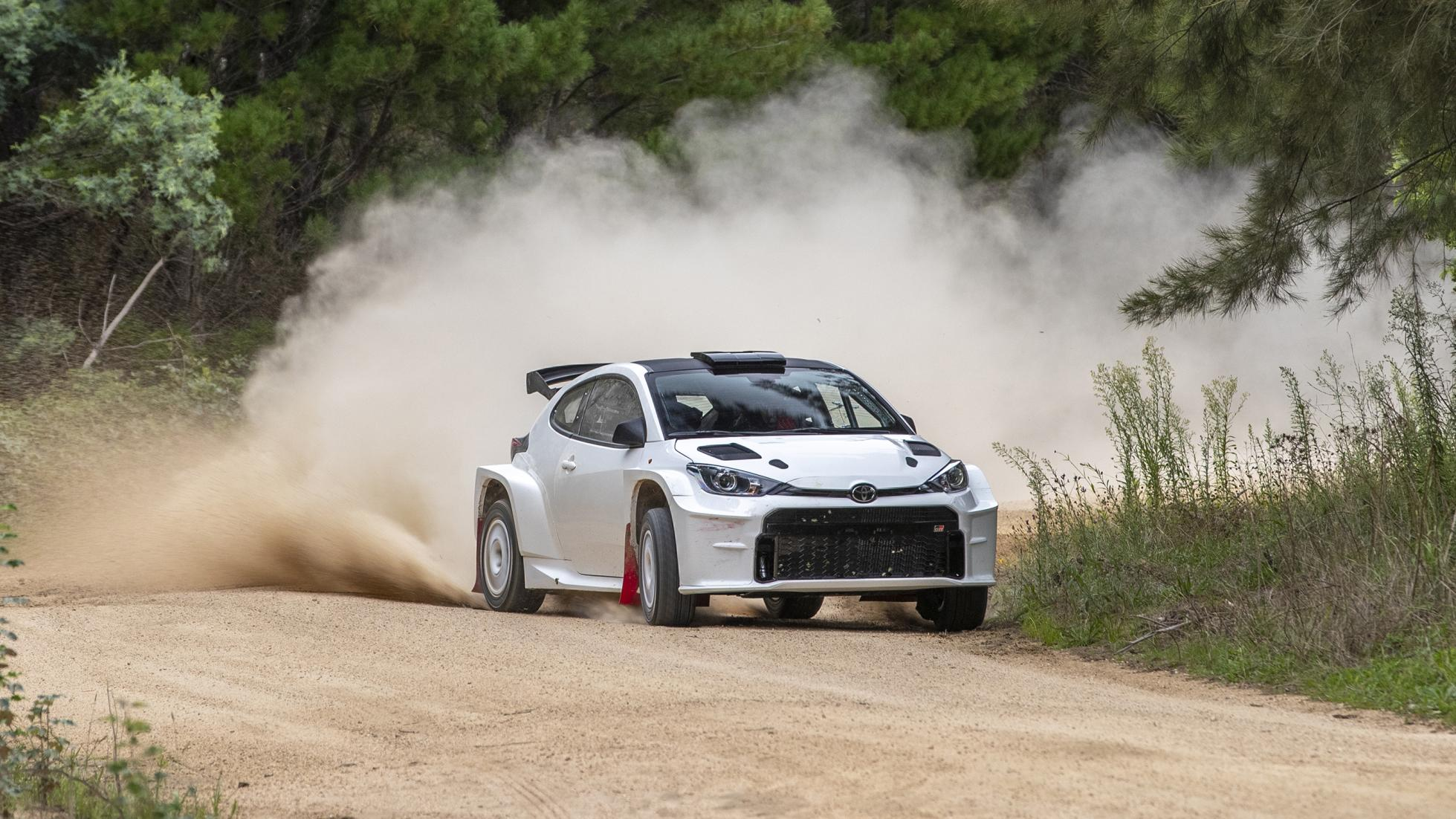 The Toyota GR Yaris AP4 Rally Car on the dirt track different angle