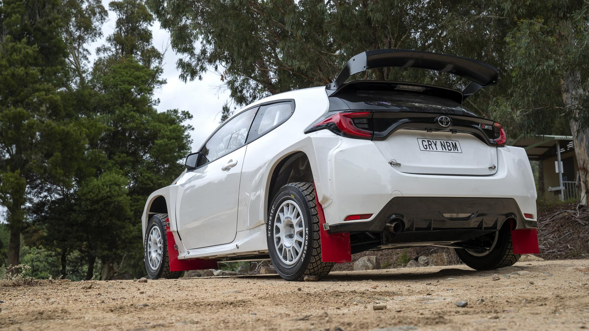 The Toyota GR Yaris AP4 Rally Car Angled Rear View