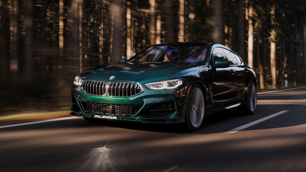 The Alpina B8 Gran Coupe Angled Front View