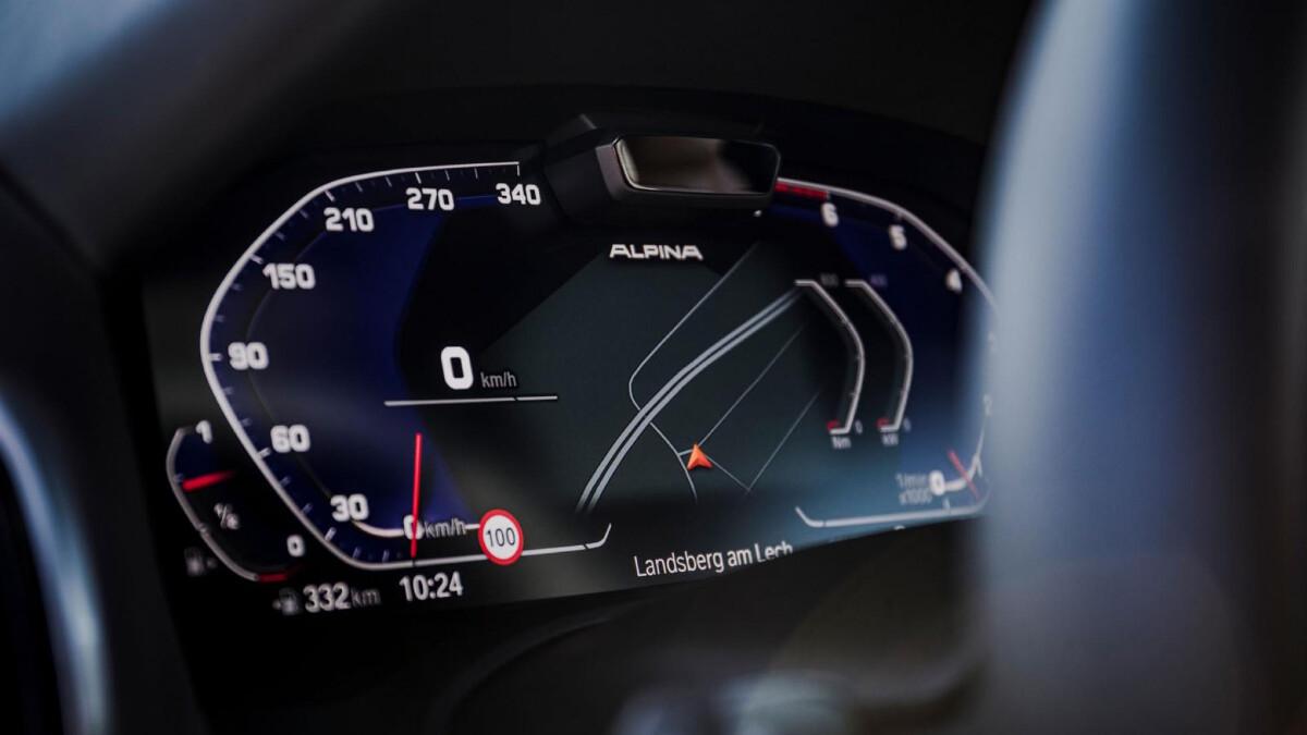 The Alpina B8 Gran Coupe Odometer Closeup