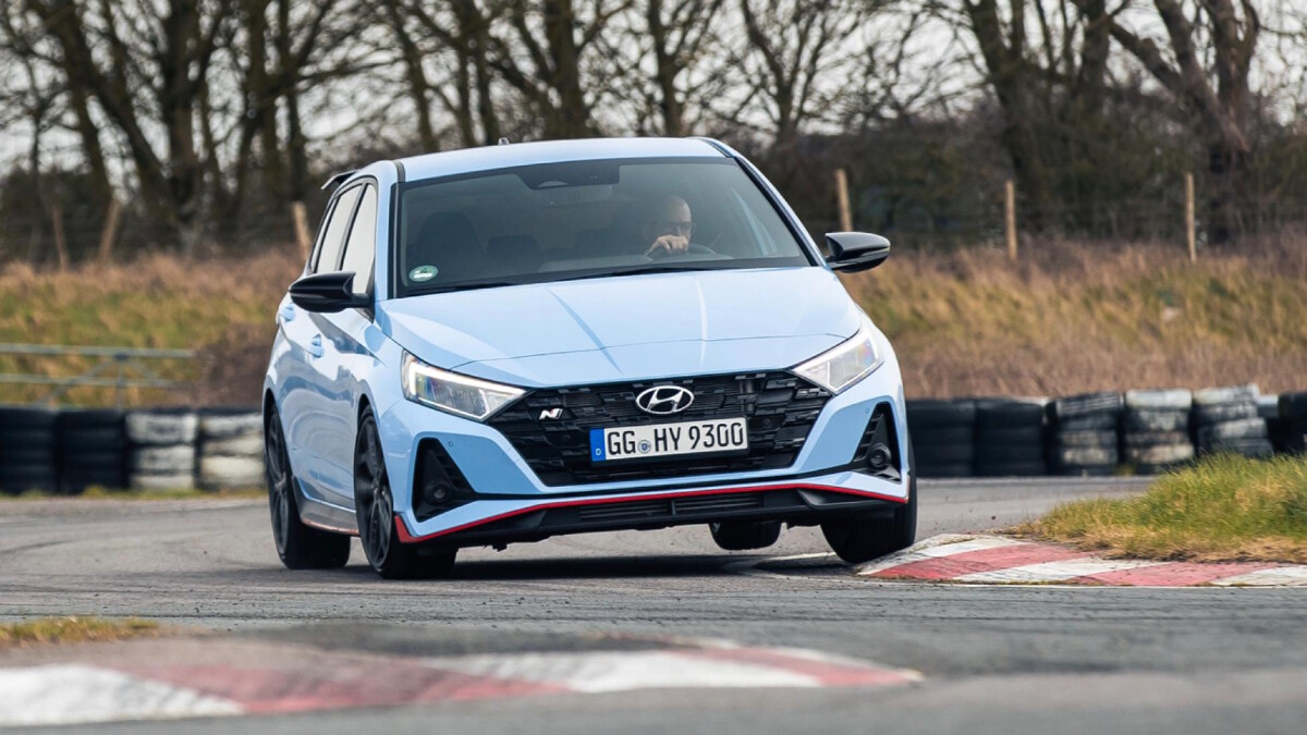 The Hyundai i20N on the track