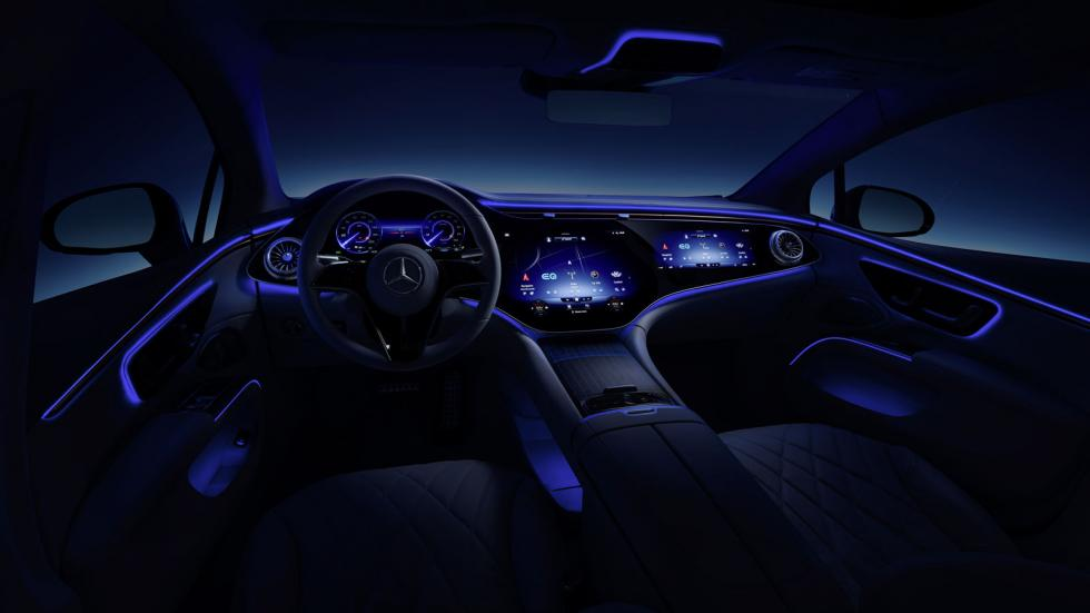 The Mercedes-Benz EQS Dashboard Illuminated