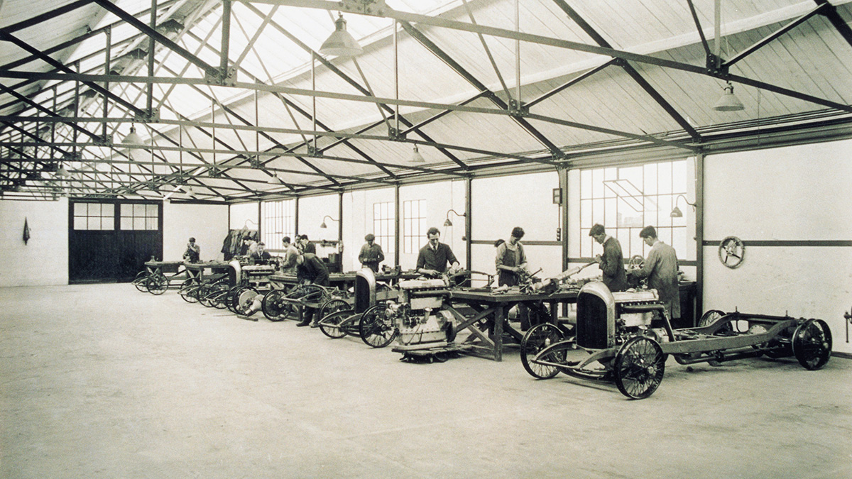 A Vintage Photo of a Bentley Assembly Line