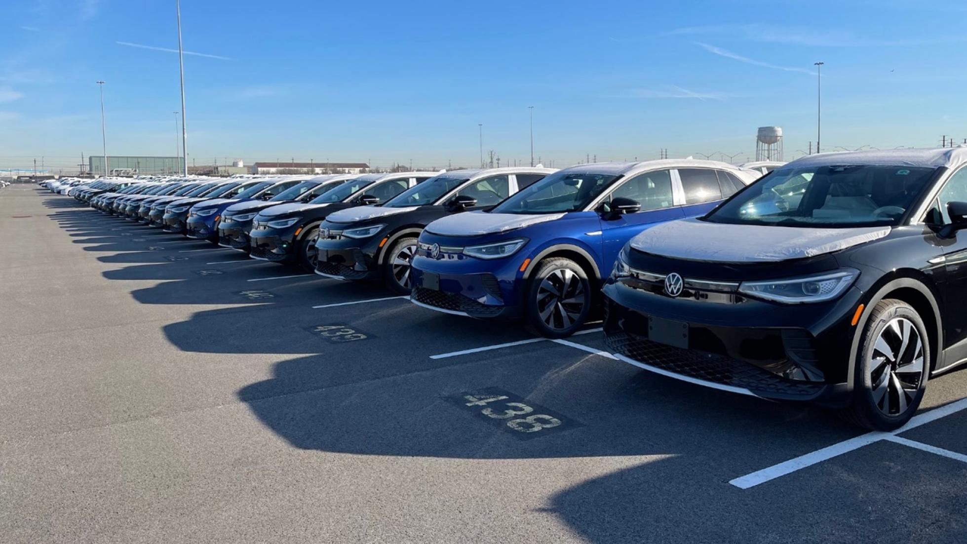A fleet of Volkwagen cars