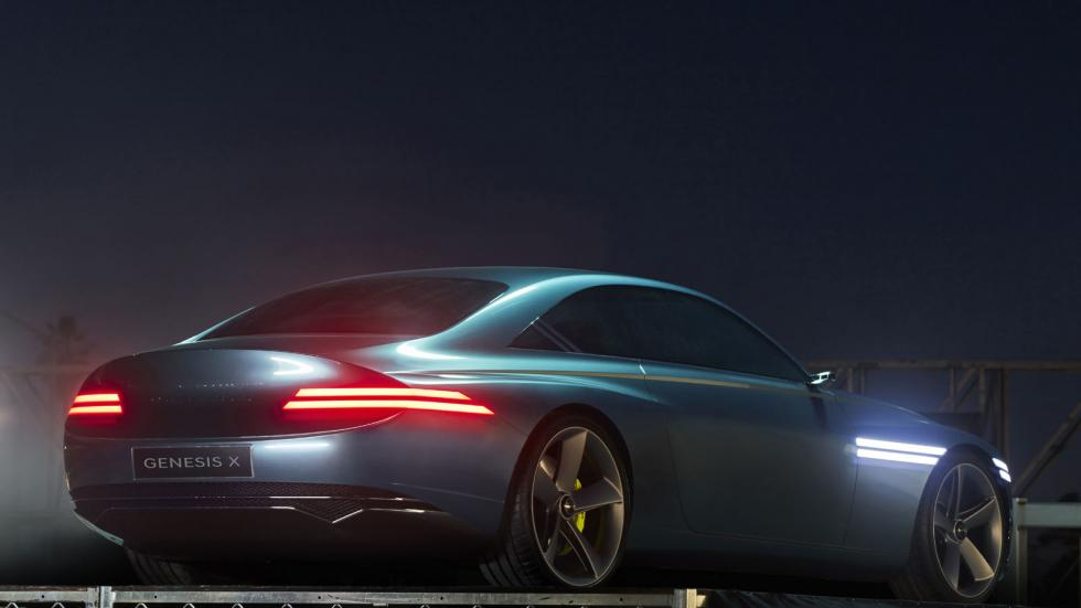 The Genesis X Concept Angled Rear View at Night