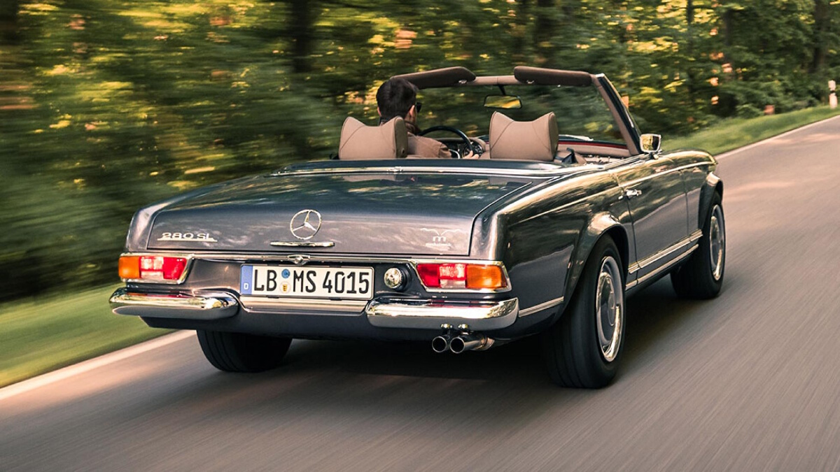 The Mercedes-Benz SL on the road