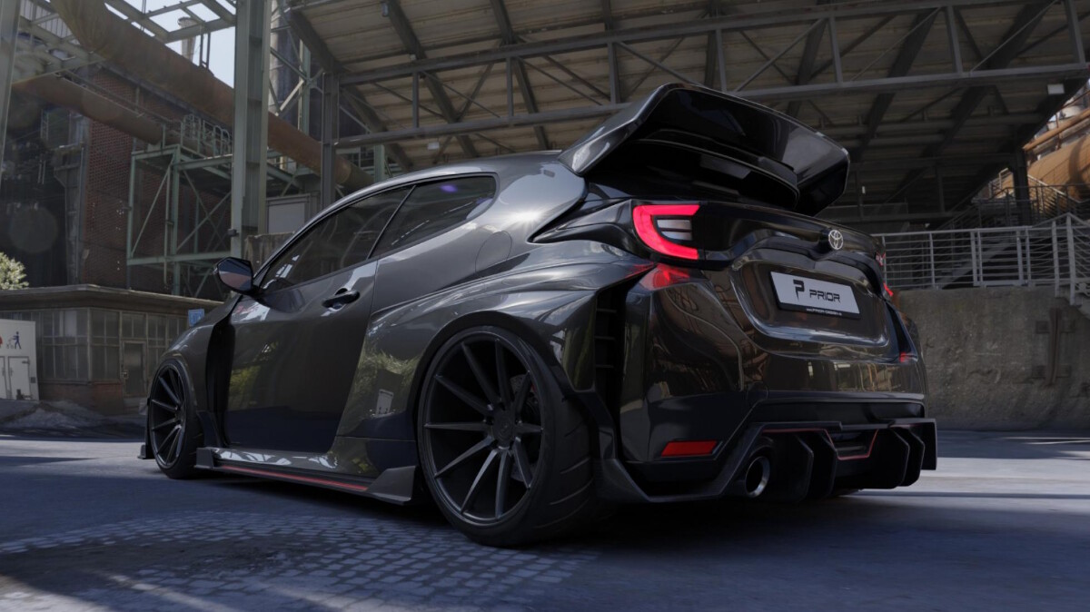 The Prior Design Kit for the Toyota GR Yaris Low Angled Rear View