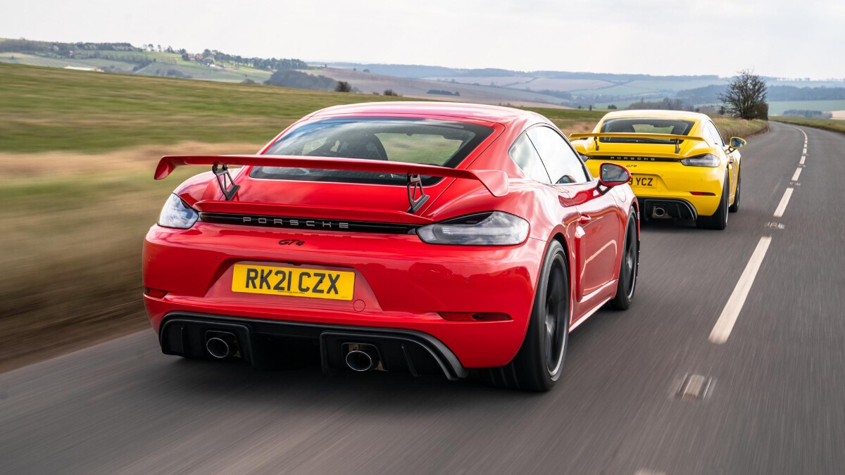 The Porsche 718 Cayman GT4 PDK and Manual on the Road