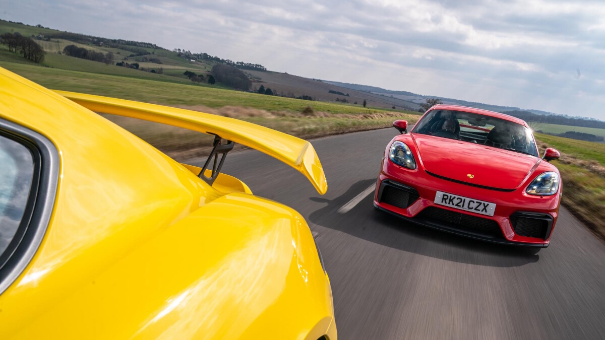 The Porsche 718 Cayman GT4 Front View On the Road
