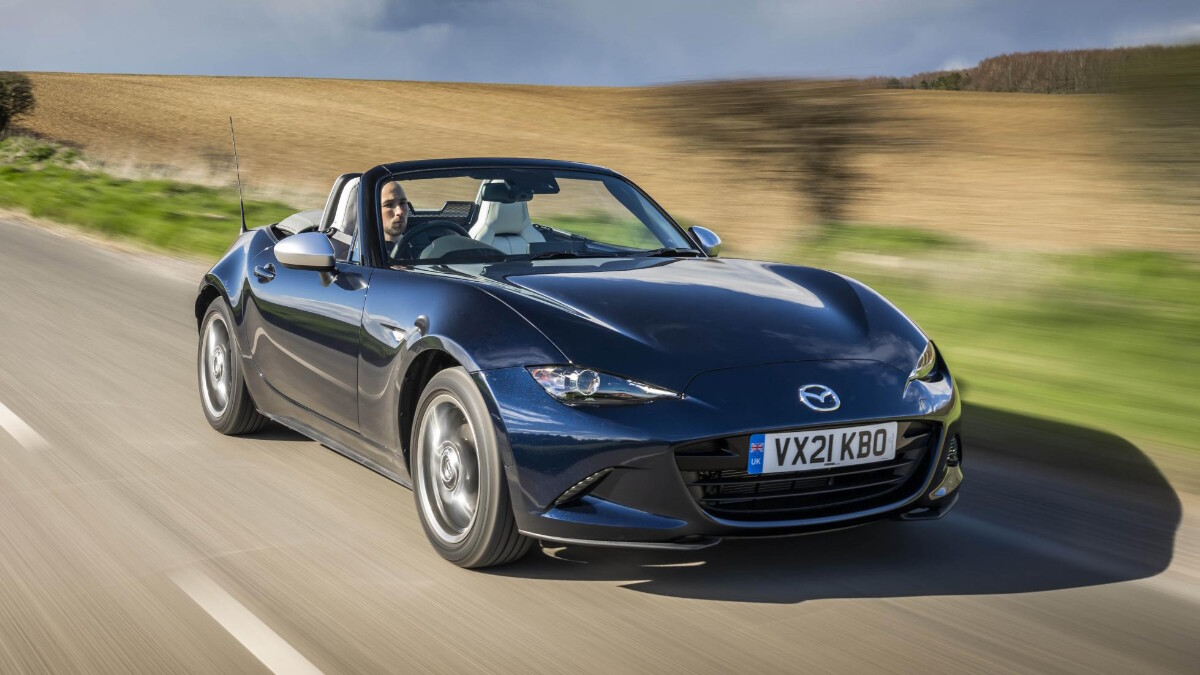 The Mazda MX-5 Sport Venture Edition with the Roof Down