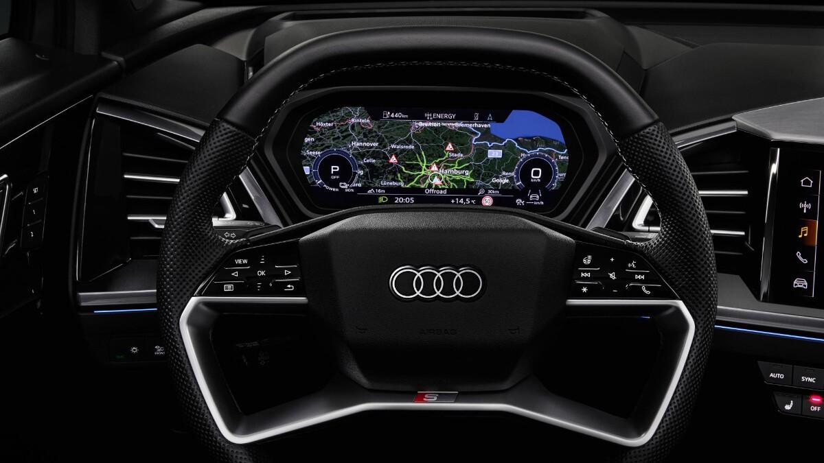 The Audi Q4 e-tron Steering Wheel Closeup