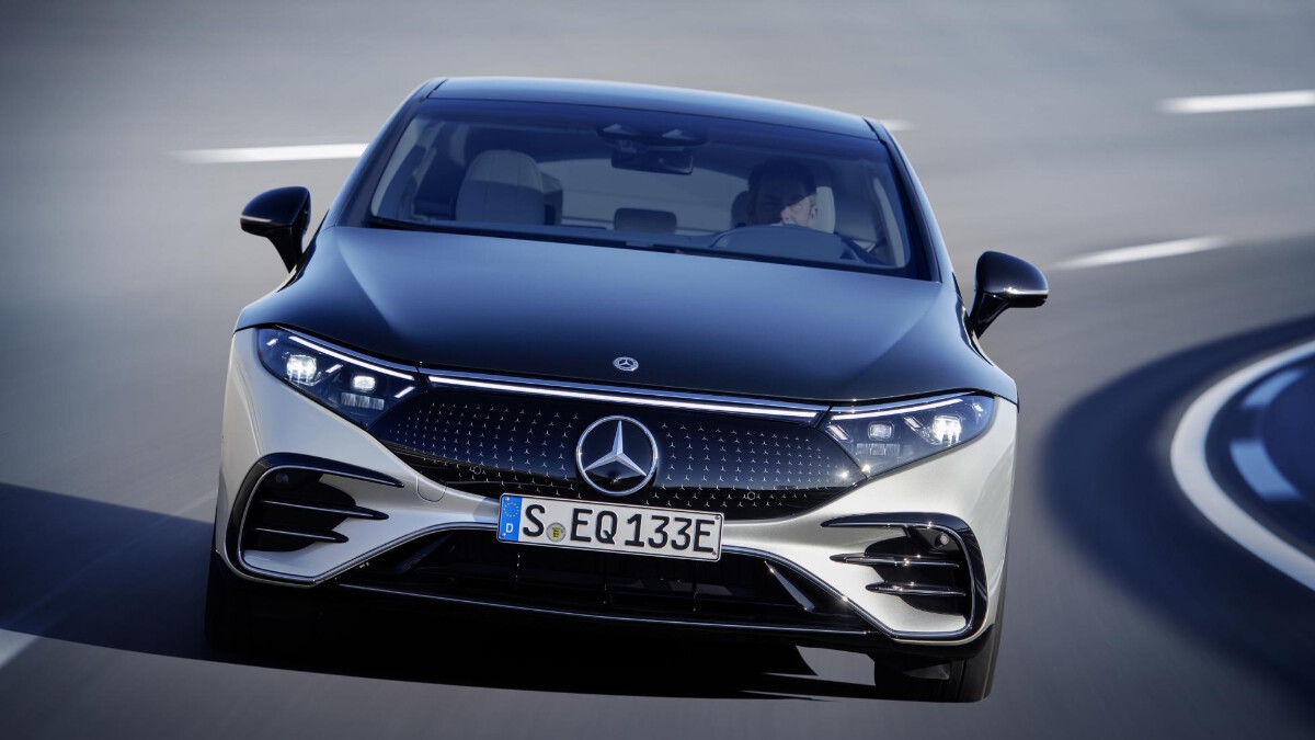 The Mercedes-Benz EQS Front View On the Road