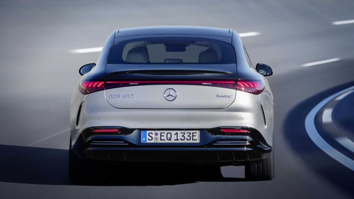 The Mercedes-Benz EQS Rear View On the Road
