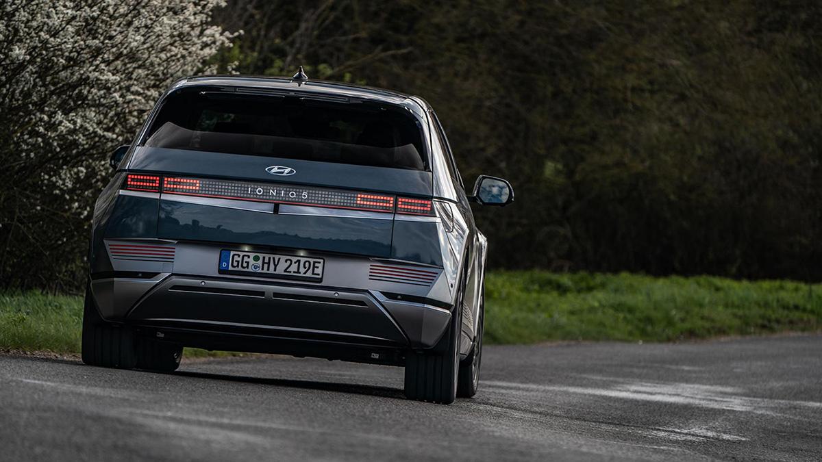 The Hyundai Ioniq 5 Rear View On the Road