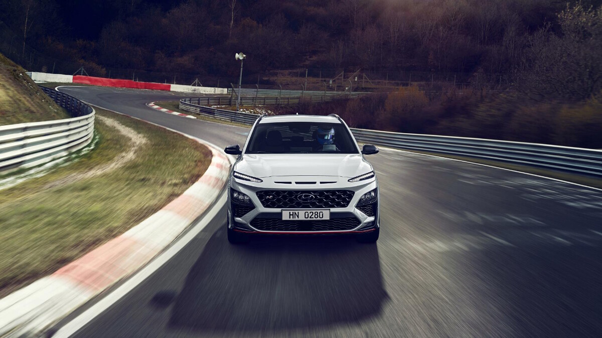 The Hyundai Kona N Front View On the Road