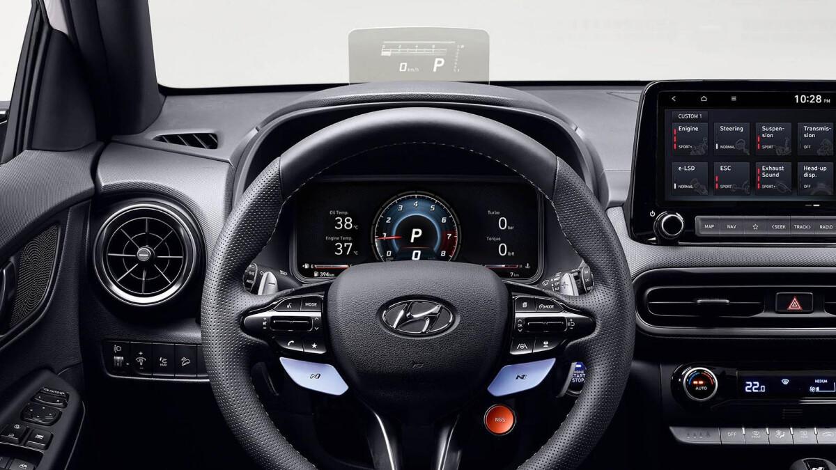 The Hyundai Kona N Steering Wheel and Dashboard