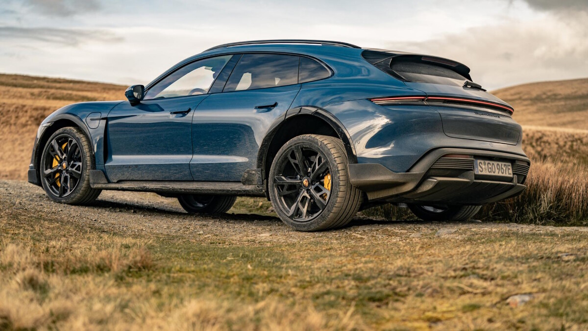 The 2022 Porsche Taycan Cross Turismo Front View, on the road