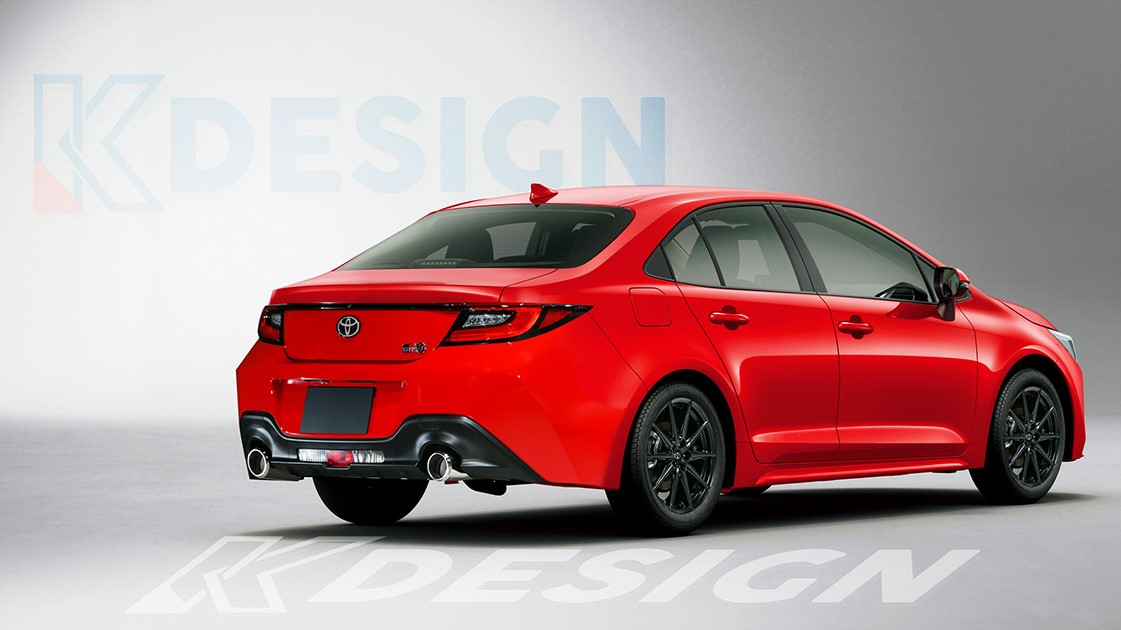 The Toyota 86 Redesigned Rear View - Sedan in Red