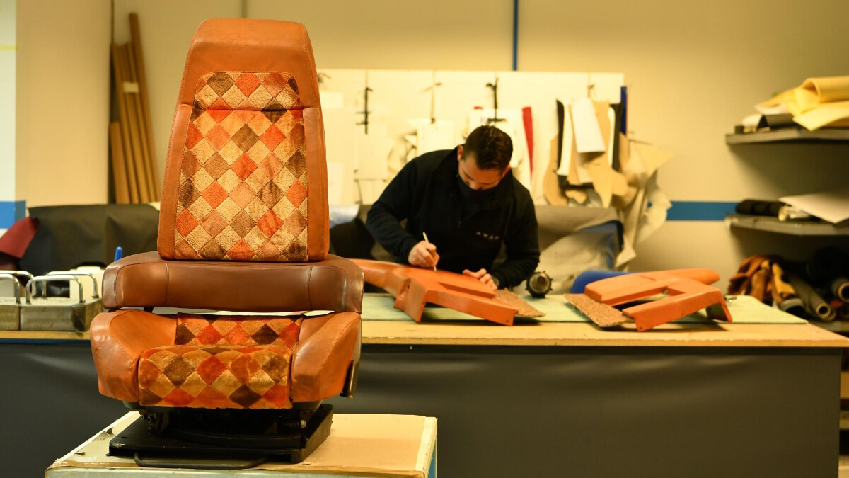 Working on the passenger seats of the Mazda MX-81 Aria
