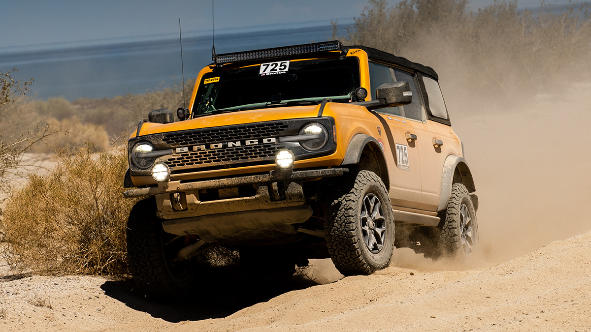 The Ford Bronco taking on uneven terrain.