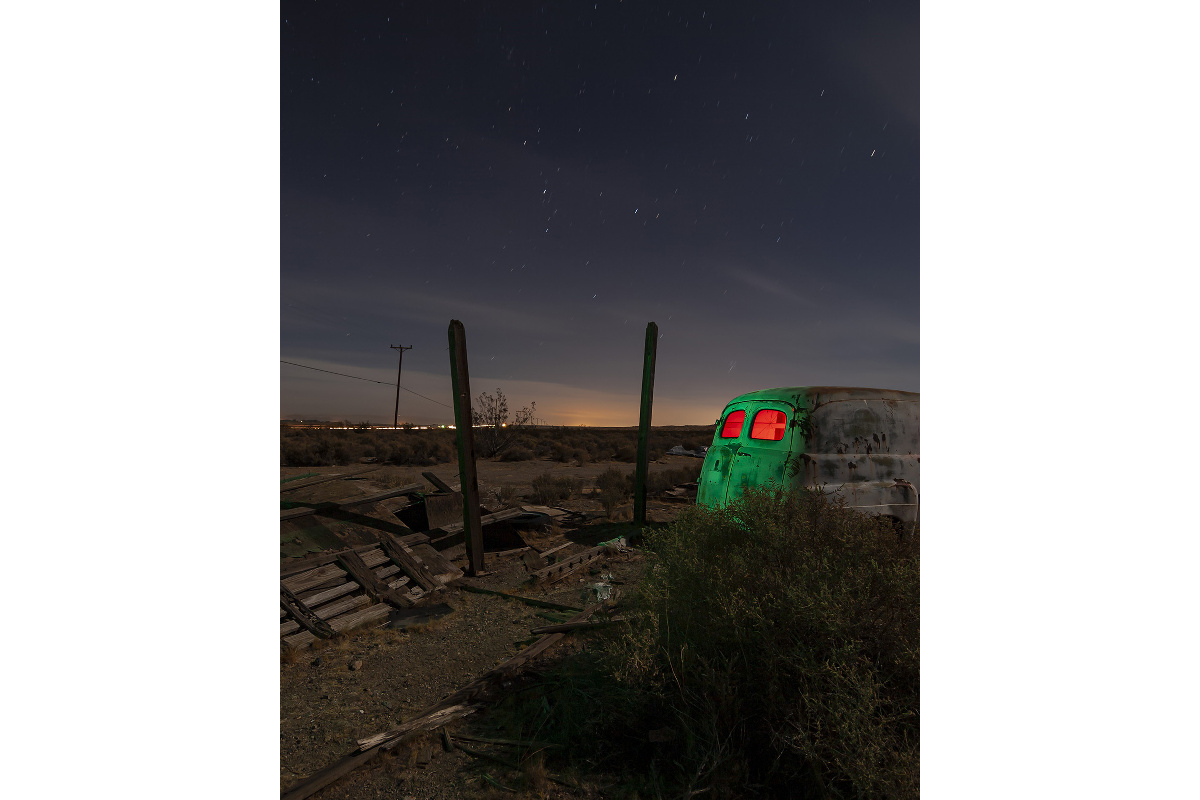 'Two Posts' – Now-cleared abandoned junkyard on the Route 66 right of way, at Hodge, California. Shot in 2006, this was the cover of my 2008 book Night Vision.