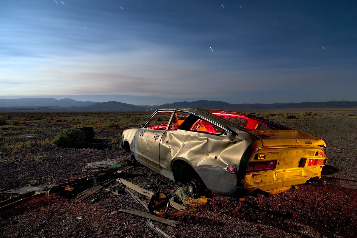 'Golden Dog' – Datsun B-210, derelict on the edge of a Nevada ghost town named Coaldale. Shot in 2006, it's long gone.