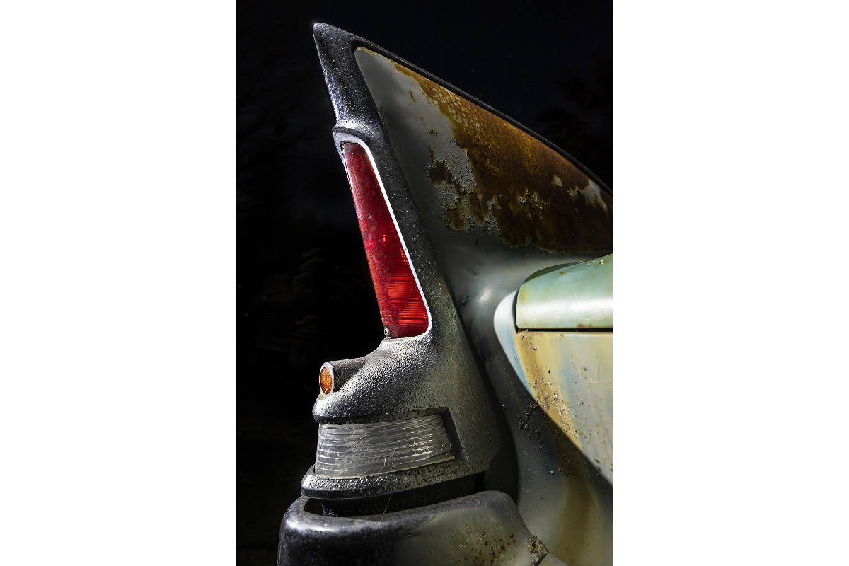 'Potmetal Rocket' – 1960 Plymouth Fury fin, a barn-find car that quickly sold, shot in 2019.