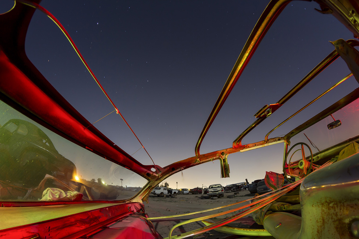 'Spargazer' – Fisheye junkyard porn, a heavily parted-out, late-'50s Ford under the full moon in the spring of 2014.
