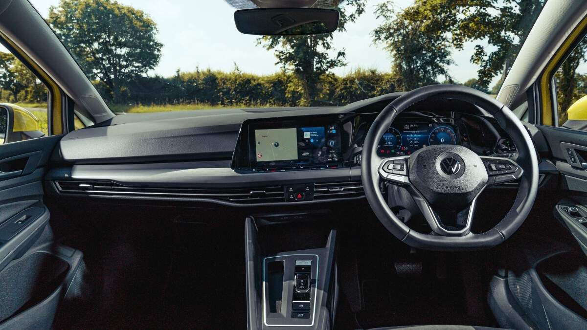 The Dashboard and Steering Wheel of a VW Golf