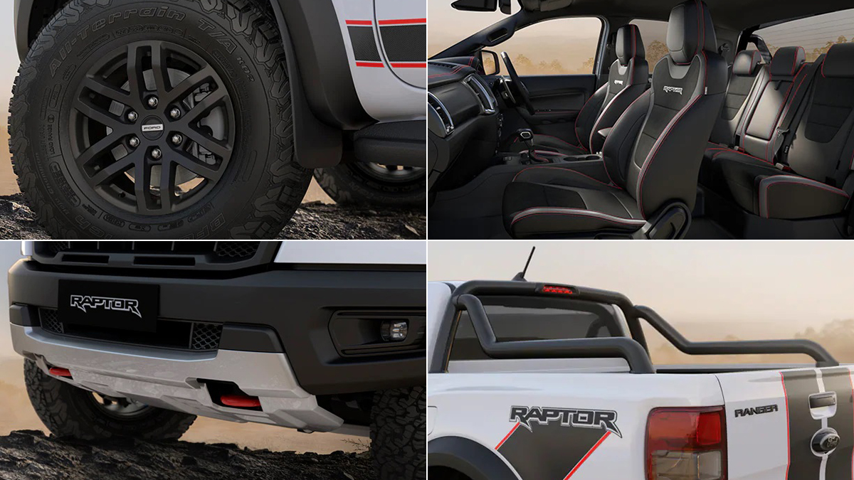 The 2021 Ford Ranger Raptor X; from top right: Tires, Passenger Seats, Front Grille, and Cargo Hold