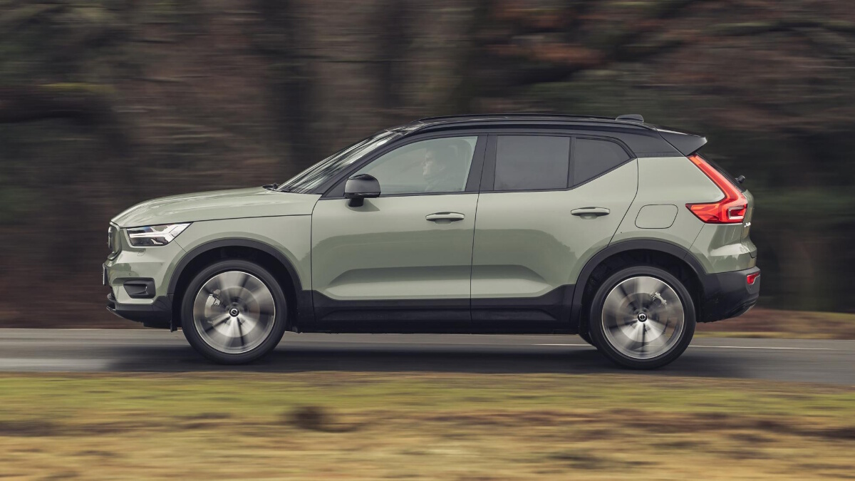 The Volvo XC40 P8 Recharge being driven on the road
