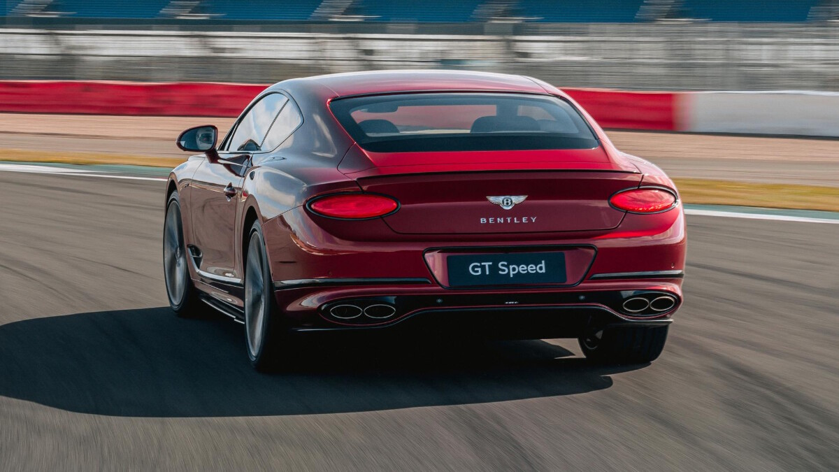 The Bentley Continental GT Speed taking a left turn on the tracks