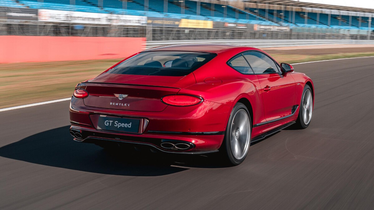 The Bentley Continental GT Speed featuring its rear angle