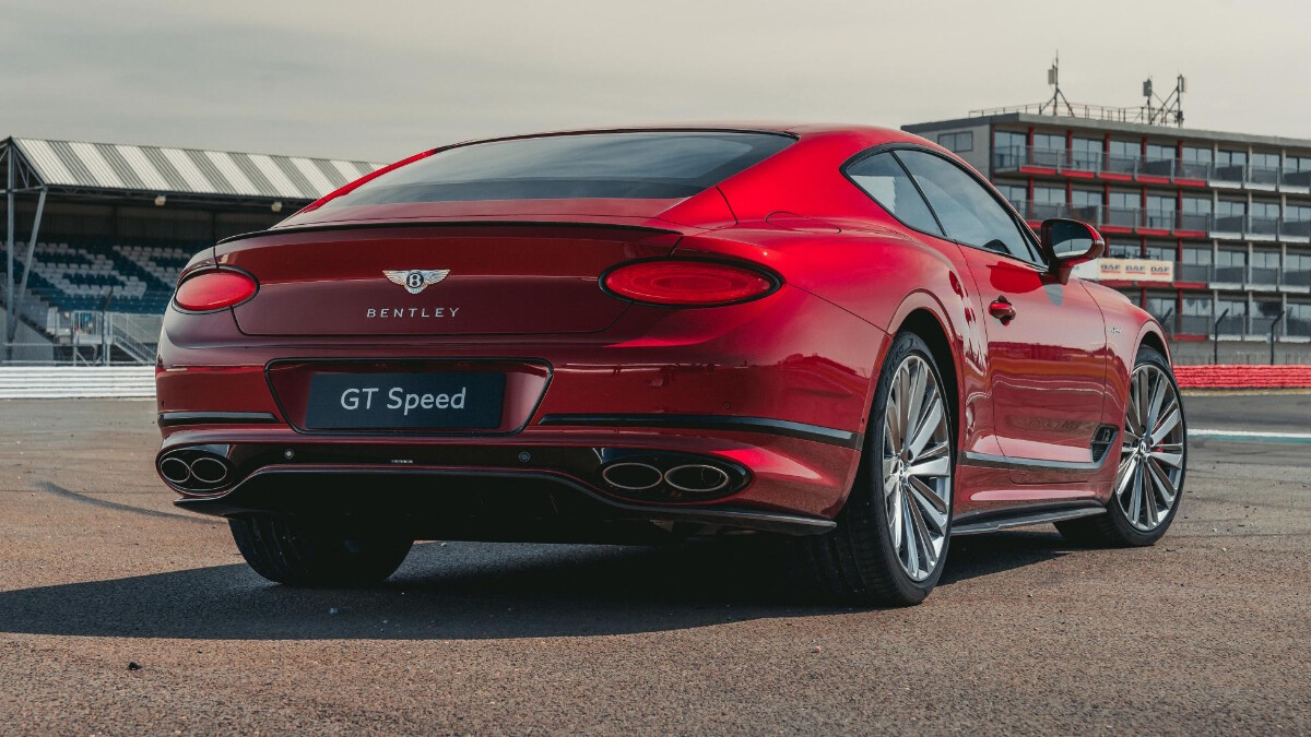 An angled rear view of the Bentley Continental GT Speed