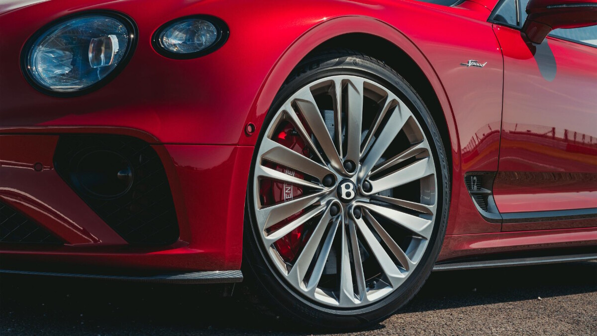 A close up of the Bentley Continental GT Speed's front tire