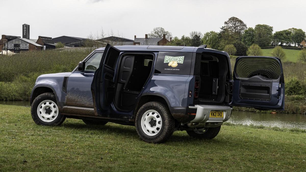 The Land Rover Defender Hard Top with open doors